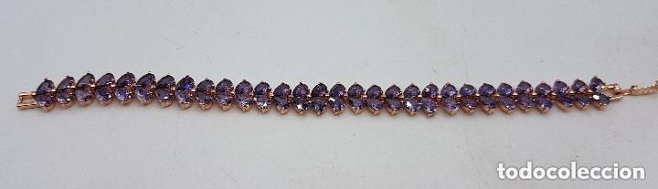 Joyeria: Preciosa pulsera con amatistas talla lágrima engarzadas y baño de oro rosa. - Foto 4 - 191699880