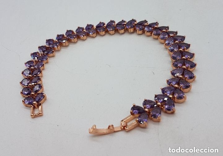 Joyeria: Preciosa pulsera con amatistas talla lágrima engarzadas y baño de oro rosa. - Foto 6 - 191699880