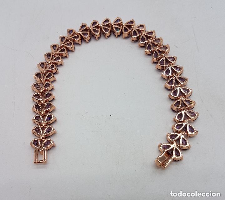 Joyeria: Preciosa pulsera con amatistas talla lágrima engarzadas y baño de oro rosa. - Foto 7 - 191699880