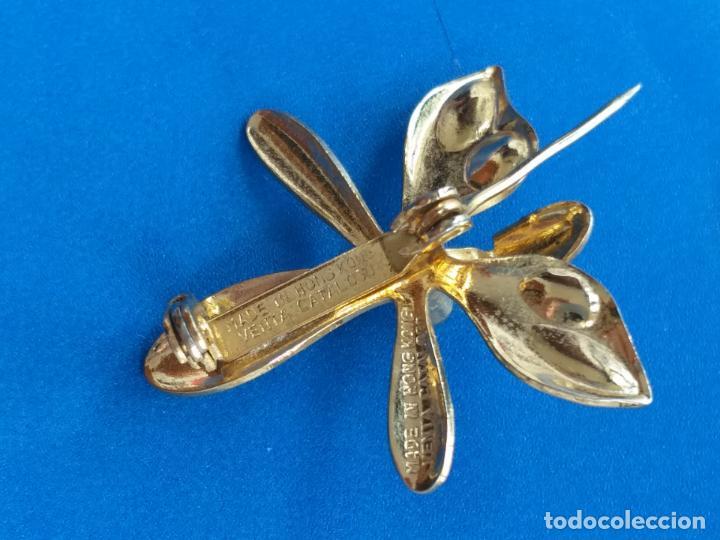 Joyeria: Broche con figura de libélula. Dorado. Inscripción. Alfiler. - Foto 4 - 159134662