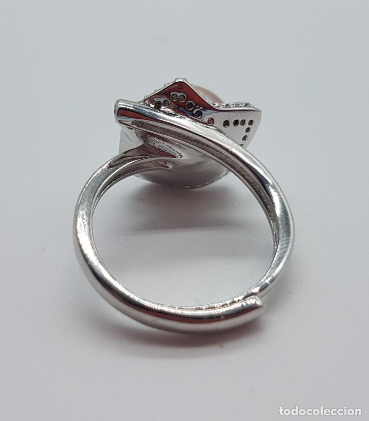 Joyeria: Elegante sortija con acabado en plata de ley 925, perla cultivada color malva y circonitas . - Foto 5 - 160186530