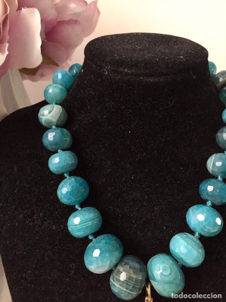 Joyeria: Collar agatas azules y colgante vintage - Foto 2 - 162484764