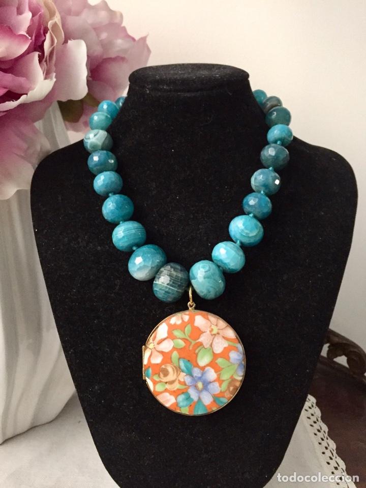 Joyeria: Collar agatas azules y colgante vintage - Foto 3 - 162484764