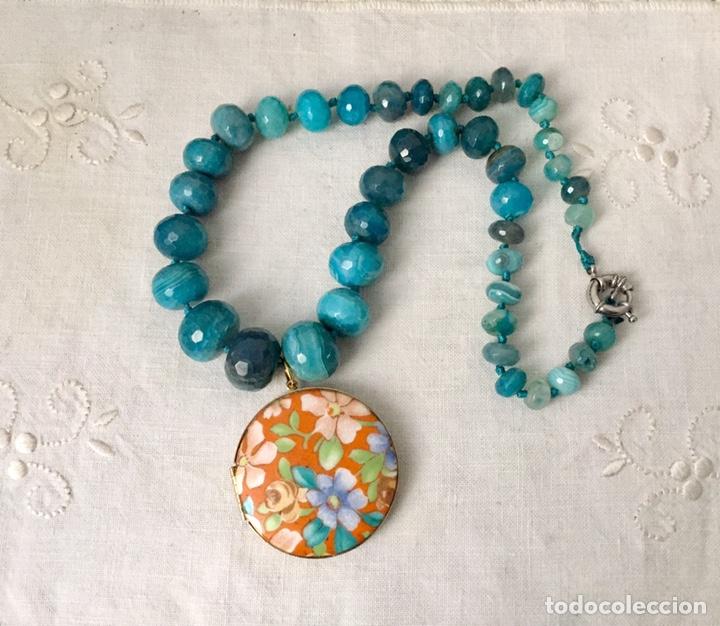 Joyeria: Collar agatas azules y colgante vintage - Foto 4 - 162484764