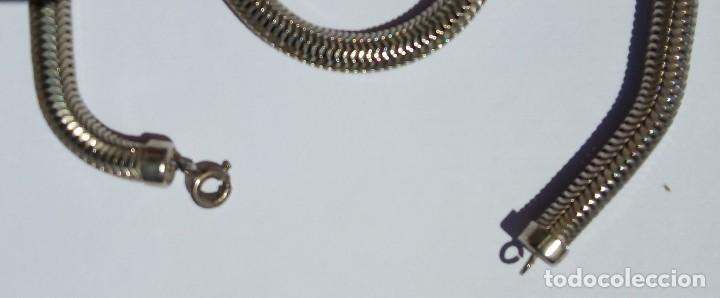 Joyeria: Collar. Cordón malla metal plateado. Bisutería antigua. Meds: 70 cms. Peso 46 gramos. - Foto 2 - 164613090