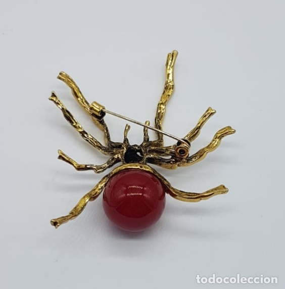 Joyeria: Original broche de araña venenosa con acabado en oro y perla en símil de coral . - Foto 5 - 165411546