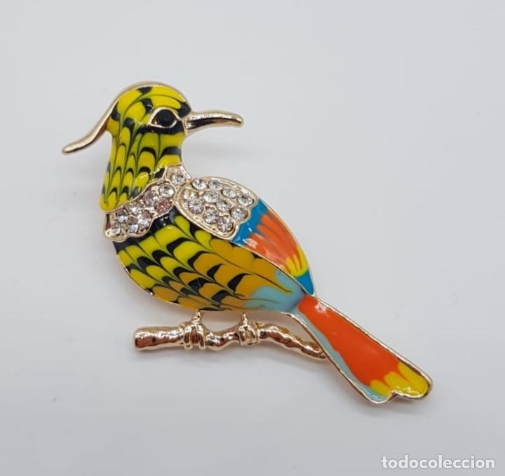 Joyeria: Bello broche de pajaro carpintero estilo vintage con acabados en oro, circonitas y esmaltes . - Foto 4 - 165412046