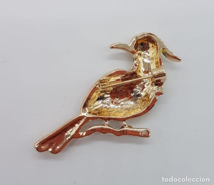 Joyeria: Bello broche de pajaro carpintero estilo vintage con acabados en oro, circonitas y esmaltes . - Foto 5 - 165412046