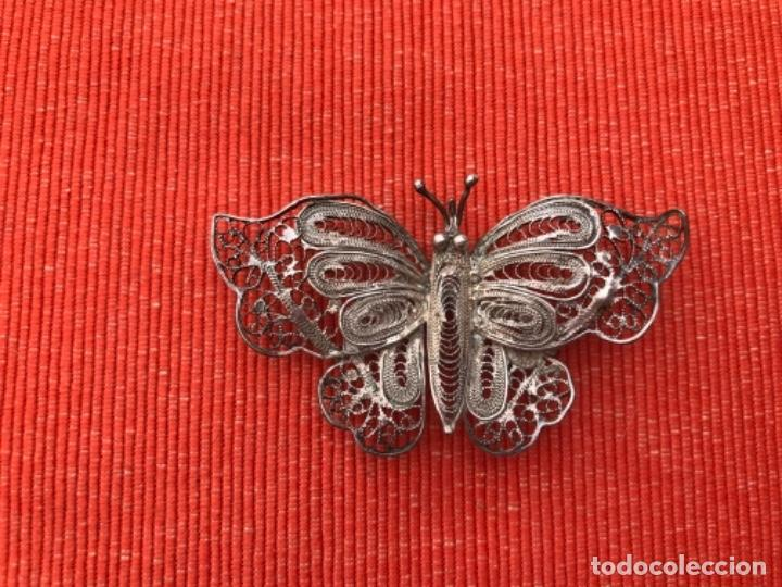 Joyeria: mariposa filigrana plata antiguo broche pasador fina filigrana bonita delicada 6 cm - Foto 2 - 165417306