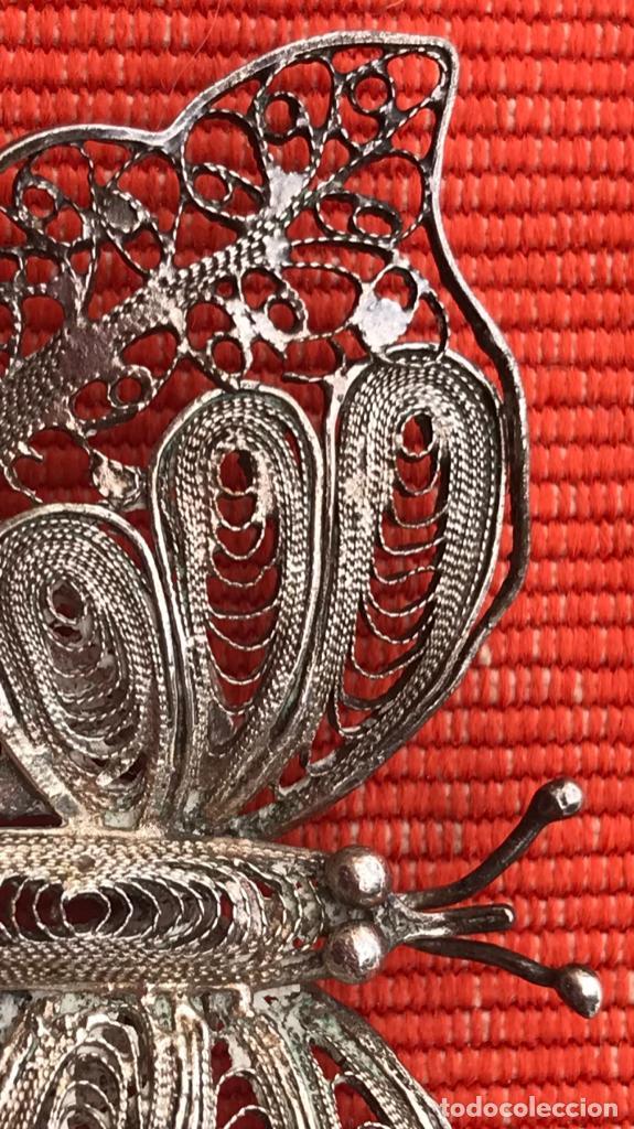 Joyeria: mariposa filigrana plata antiguo broche pasador fina filigrana bonita delicada 6 cm - Foto 3 - 165417306