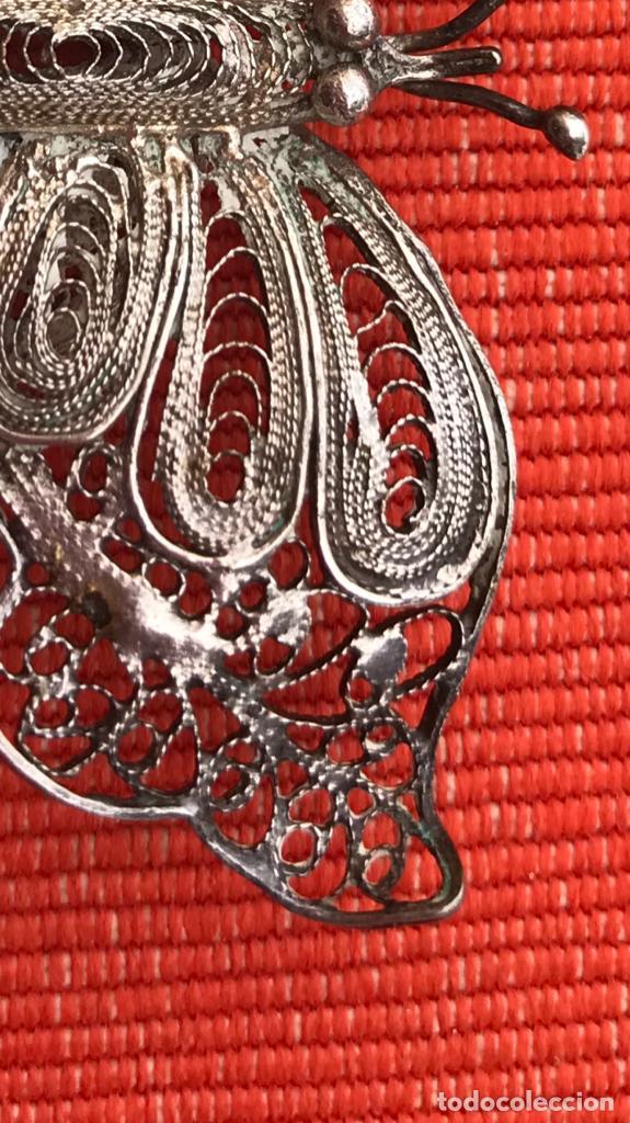 Joyeria: mariposa filigrana plata antiguo broche pasador fina filigrana bonita delicada 6 cm - Foto 4 - 165417306