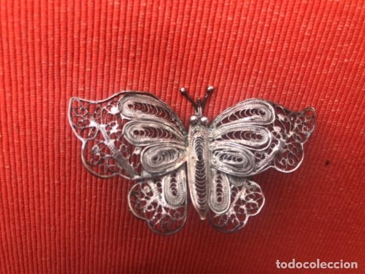 Joyeria: mariposa filigrana plata antiguo broche pasador fina filigrana bonita delicada 6 cm - Foto 6 - 165417306