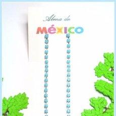 Joyeria: PENDIENTES LARGOS DISEÑO STRASS AZUL, NUEVOS. Lote 166345786