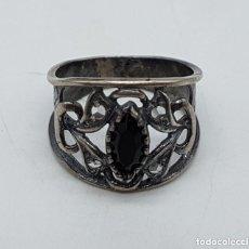 Jewelry - Precioso anillo antiguo isabelino en plata de ley contrastada de diseño calado con onix engarzado. - 167924492