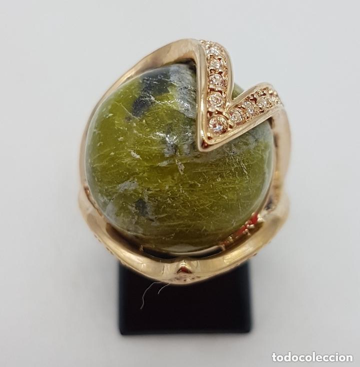 Joyeria: Bonito anillo con gran bola de piedra y baño de oro amarillo. 16 mm de diametro interno. - Foto 2 - 168687728