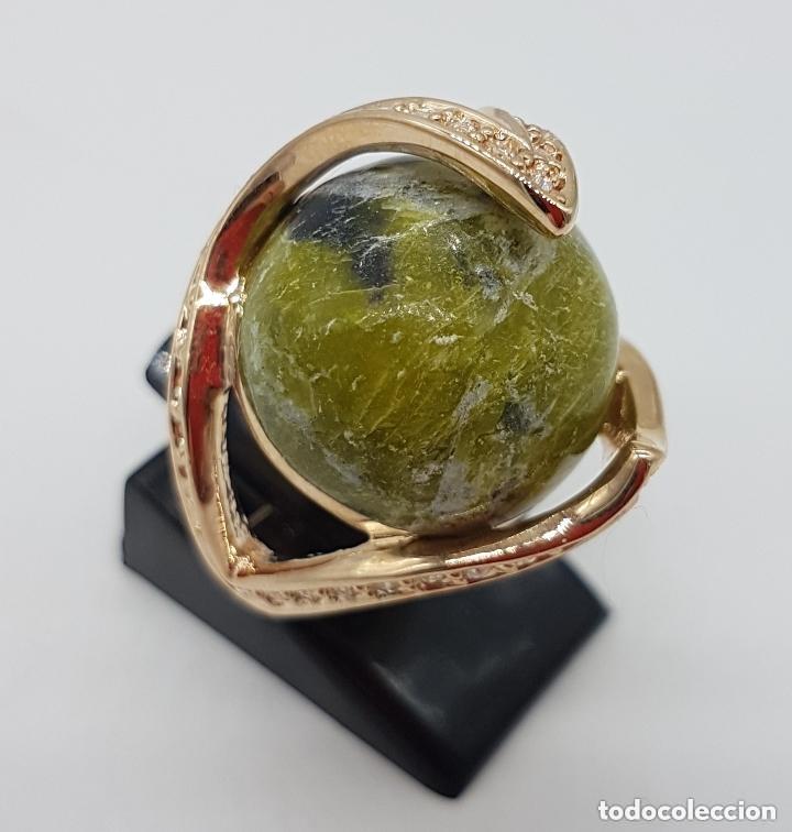 Joyeria: Bonito anillo con gran bola de piedra y baño de oro amarillo. 16 mm de diametro interno. - Foto 3 - 168687728