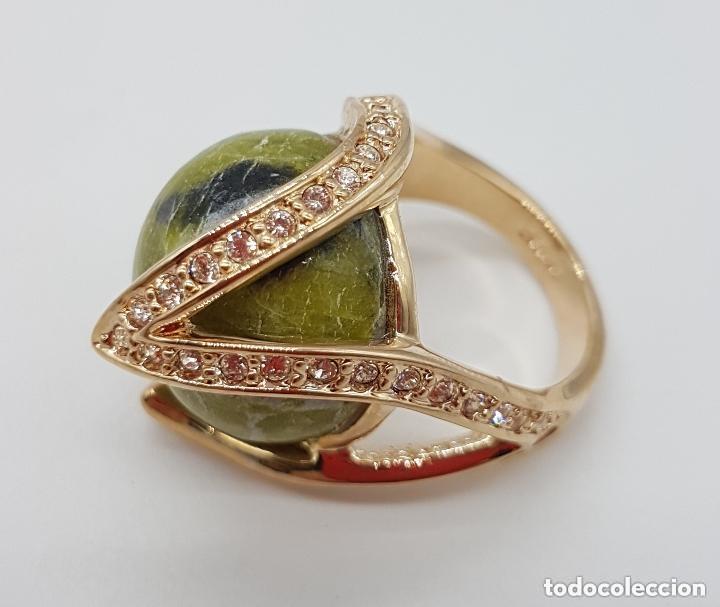 Joyeria: Bonito anillo con gran bola de piedra y baño de oro amarillo. 16 mm de diametro interno. - Foto 4 - 168687728