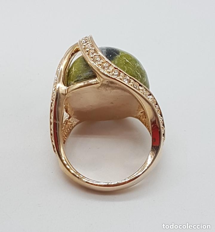 Joyeria: Bonito anillo con gran bola de piedra y baño de oro amarillo. 16 mm de diametro interno. - Foto 5 - 168687728