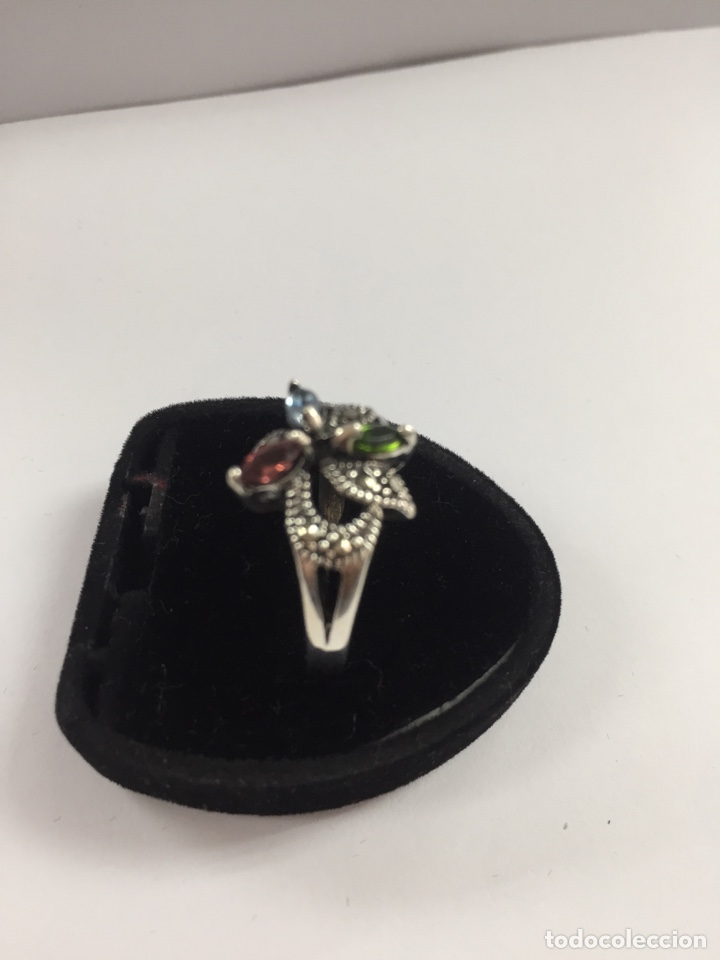 Joyeria: Sortija de plata marquesitas y circonitas de colores - Foto 2 - 168839269