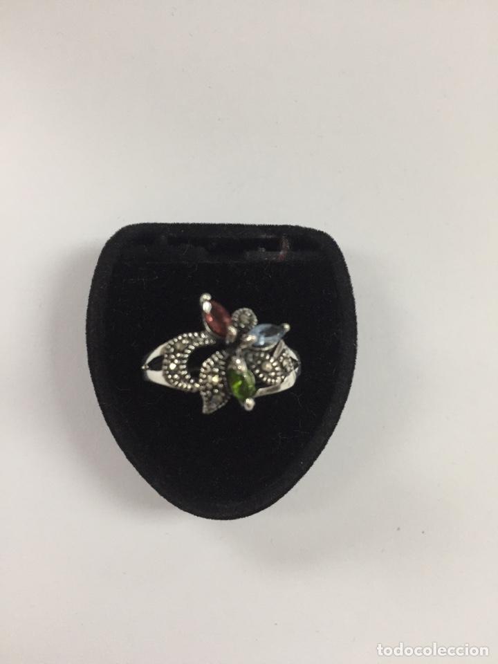 Joyeria: Sortija de plata marquesitas y circonitas de colores - Foto 4 - 168839269
