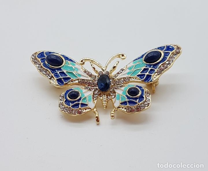 Joyeria: Magnífico broche de estilo art nouveau de mariposa con acabado en oro, esmaltes, y pedrería . - Foto 3 - 244470400
