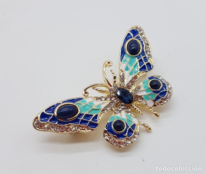 Joyeria: Magnífico broche de estilo art nouveau de mariposa con acabado en oro, esmaltes, y pedrería . - Foto 4 - 244470400
