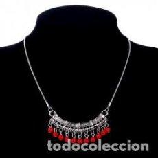 Joyeria: COLLAR DE PLATA TIBETANA CON CUENTAS DE COLORES. Lote 169438889