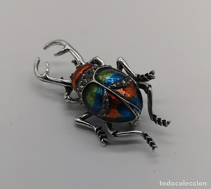 Joyeria: Magnífico broche de escarabajo ciervo con acabado en plata, esmaltes al fuego y circonitas . - Foto 3 - 170863958