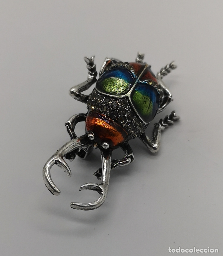 Joyeria: Magnífico broche de escarabajo ciervo con acabado en plata, esmaltes al fuego y circonitas . - Foto 4 - 170863958