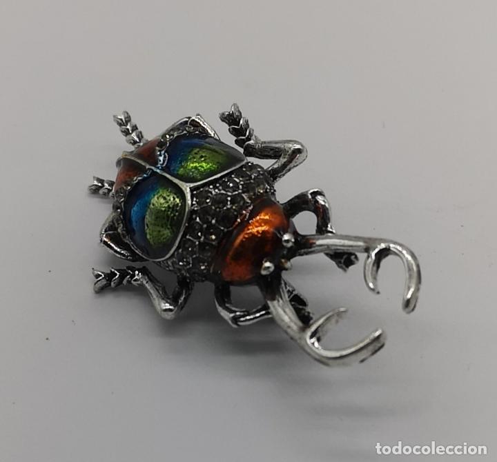 Joyeria: Magnífico broche de escarabajo ciervo con acabado en plata, esmaltes al fuego y circonitas . - Foto 5 - 170863958
