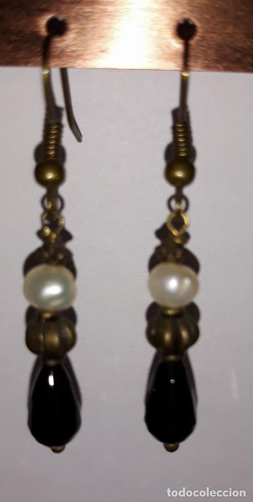 Joyeria: Pendientes de ónix, perlas de río y polvo de turquesa - Foto 2 - 171023443