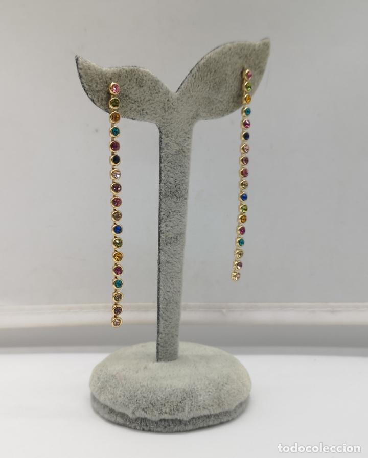 Joyeria: Pendientes de lujo con acabado en oro de 18k y piedras semipreciosas creadas talla brillante . - Foto 2 - 233885185
