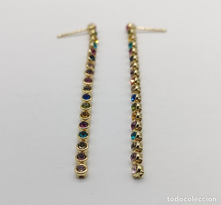 Joyeria: Pendientes de lujo con acabado en oro de 18k y piedras semipreciosas creadas talla brillante . - Foto 5 - 233885185