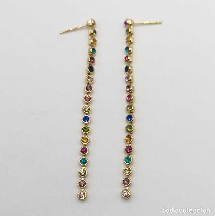 Joyeria: Pendientes de lujo con acabado en oro de 18k y piedras semipreciosas creadas talla brillante . - Foto 6 - 233885185
