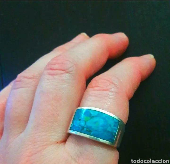 Joyeria: Sortija, anillo de plata de ley y piedra turquesa original. Plata maciza 925 contrastada - Foto 2 - 175045560