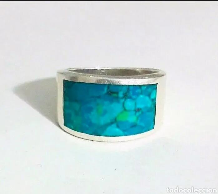 Joyeria: Sortija, anillo de plata de ley y piedra turquesa original. Plata maciza 925 contrastada - Foto 3 - 175045560