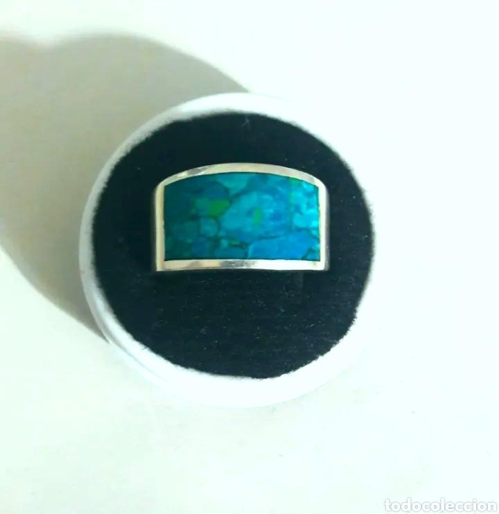 Joyeria: Sortija, anillo de plata de ley y piedra turquesa original. Plata maciza 925 contrastada - Foto 4 - 175045560