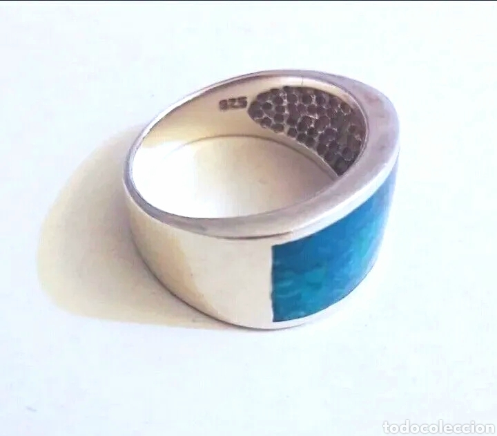 Joyeria: Sortija, anillo de plata de ley y piedra turquesa original. Plata maciza 925 contrastada - Foto 5 - 175045560