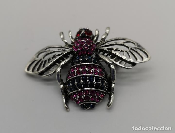 Joyeria: Precioso broche de insecto estilo vintage con acabado en plata y pedrería talla brillante . - Foto 2 - 194011291