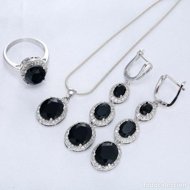 Joyeria: Conjunto de joyas de plata con zafiros negros y baño de rodio. - Foto 2 - 176277877