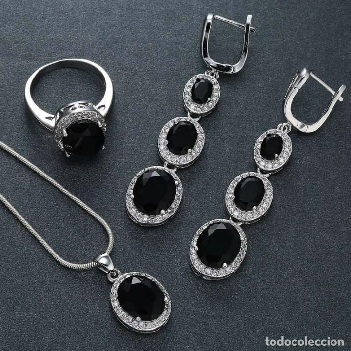 Joyeria: Conjunto de joyas de plata con zafiros negros y baño de rodio. - Foto 3 - 176277877