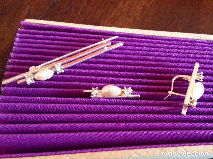 Joyeria: Broche. Alfiler de plata con pendientes a juego. Vintage. Perlas de Rio. - Foto 2 - 184348048