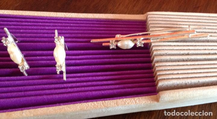 Joyeria: Broche. Alfiler de plata con pendientes a juego. Vintage. Perlas de Rio. - Foto 3 - 184348048