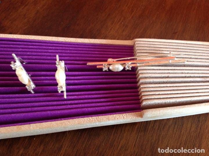 Joyeria: Broche. Alfiler de plata con pendientes a juego. Vintage. Perlas de Rio. - Foto 4 - 184348048
