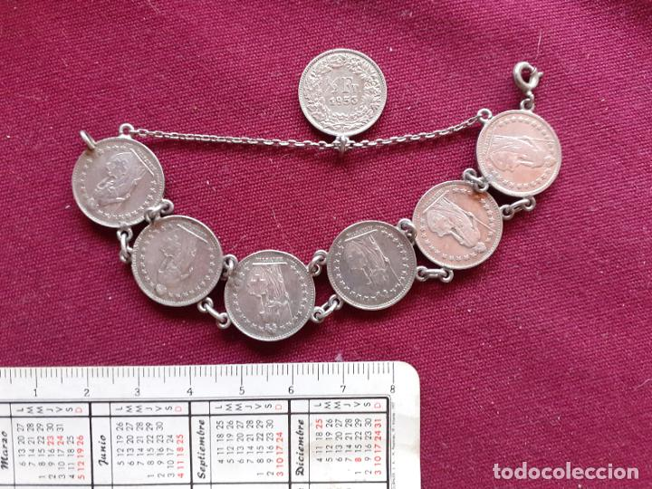 Joyeria: Pulsera antigua de plata. Monedas de medio franco de plata de Suiza - Foto 2 - 194242947