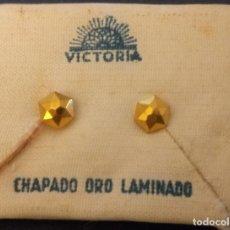 Joyeria: PAREJA DE PENDIENTES CHAPADO ORO LAMINADO. Lote 194920660
