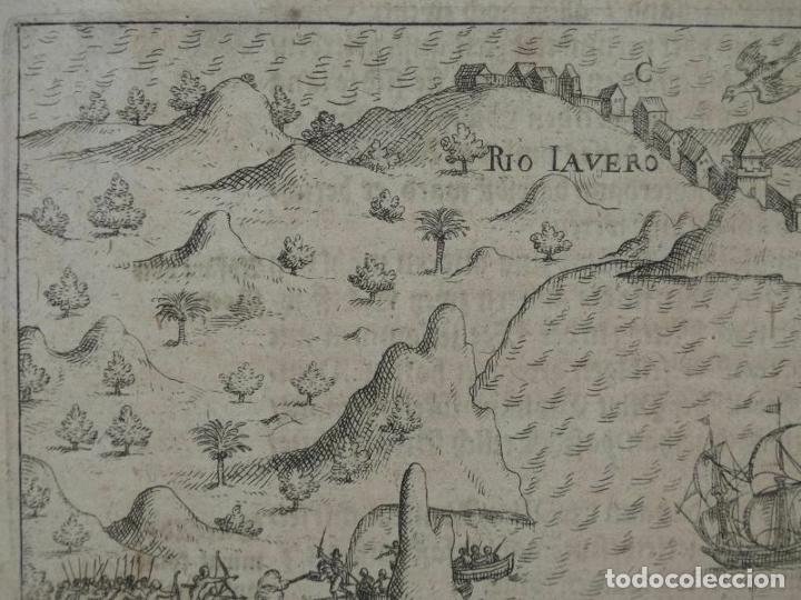 Joyeria: Vista del puerto y bahia de Rio de Janeiro (Brasil), 1655. Merian/De bry/Gottfried - Foto 3 - 195275178