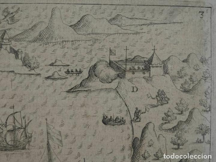 Joyeria: Vista del puerto y bahia de Rio de Janeiro (Brasil), 1655. Merian/De bry/Gottfried - Foto 4 - 195275178