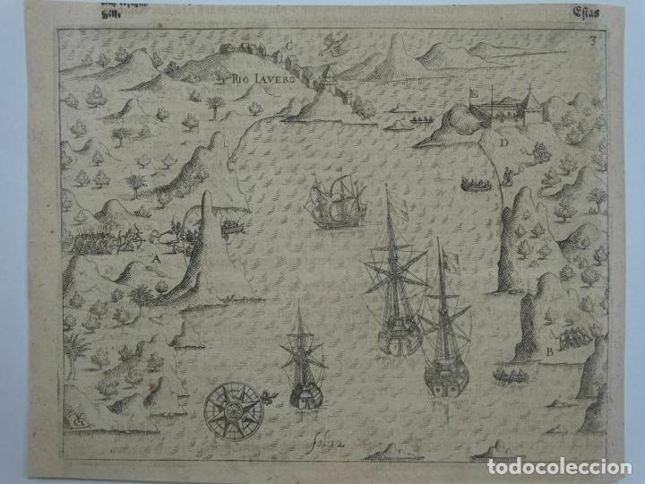 Joyeria: Vista del puerto y bahia de Rio de Janeiro (Brasil), 1655. Merian/De bry/Gottfried - Foto 9 - 195275178