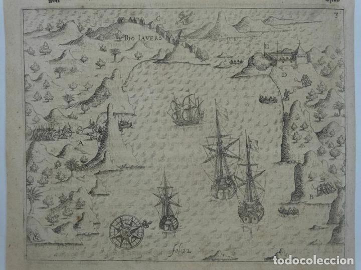 Joyeria: Vista del puerto y bahia de Rio de Janeiro (Brasil), 1655. Merian/De bry/Gottfried - Foto 10 - 195275178